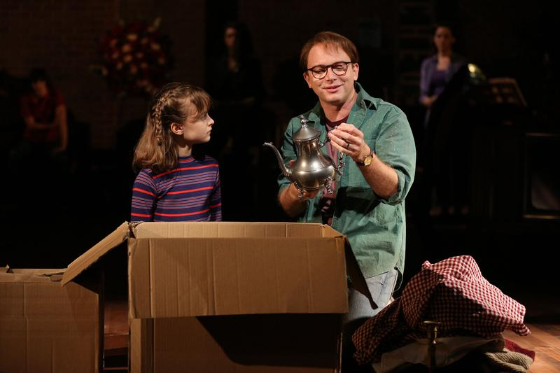 Sydney Lucas and Michael Cerveris in Fun Home, with music by Jeanine Tesori, book and Lyrics by Lisa Kron, based on the Alison Bechdel book, and directed by Sam Gold,  at The Public Theater.