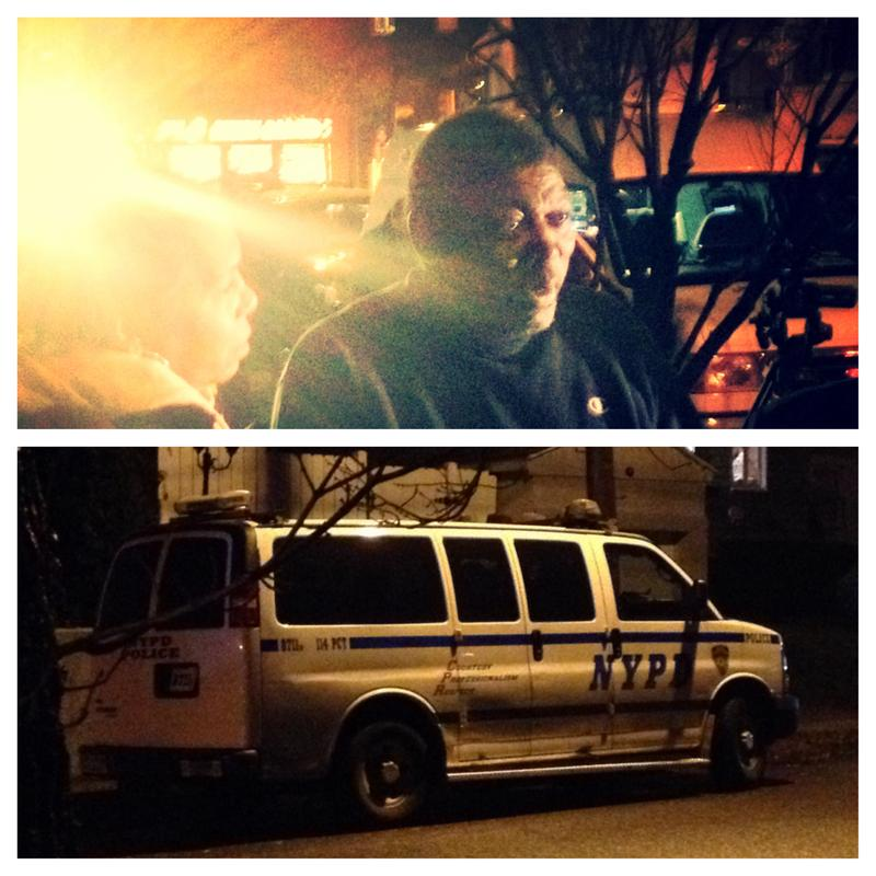 Above: Ben Carr, step-father of Eric Garner, arrives in a glare of TV lights in Tompkinsville. Below: police vehicle guards the home of Officer Daniel Pantaleo in Great Kills.