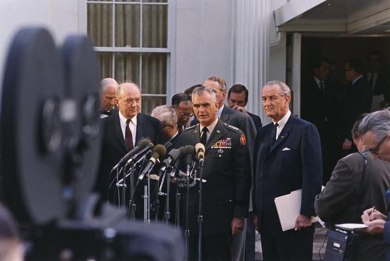 General William Westmoreland press conference outside the White House, April 7, 1968.