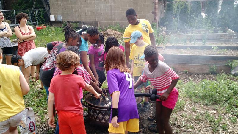 Kids Roast Marshmallows at Maple Street Garden