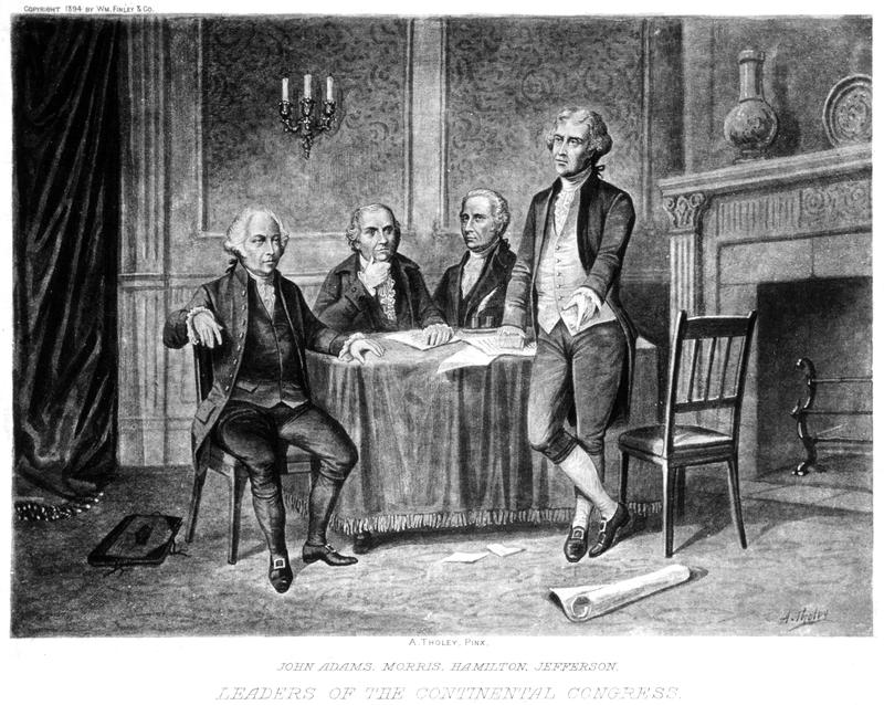 Leaders of the Continental Congress, from left to right: John Adams, Robert Morris, Alexander Hamilton, and Thomas Jefferson. From a drawing by Augustus Tholey, 1894