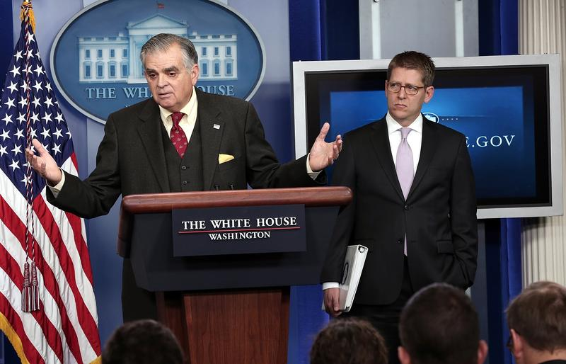 Secretary Ray Lahood at a White House briefing.