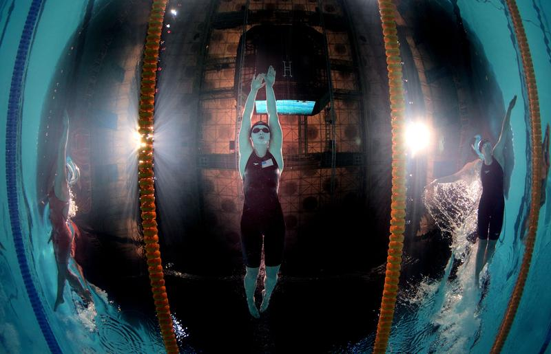 Katie Ledecky's world record in the 1,500-meter swim is 13 seconds faster than any other female in history. Here she is swimming 2013.
