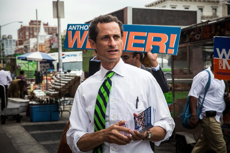 Anthony Weiner meets with voters on a street corner in Harlem in 2013.
