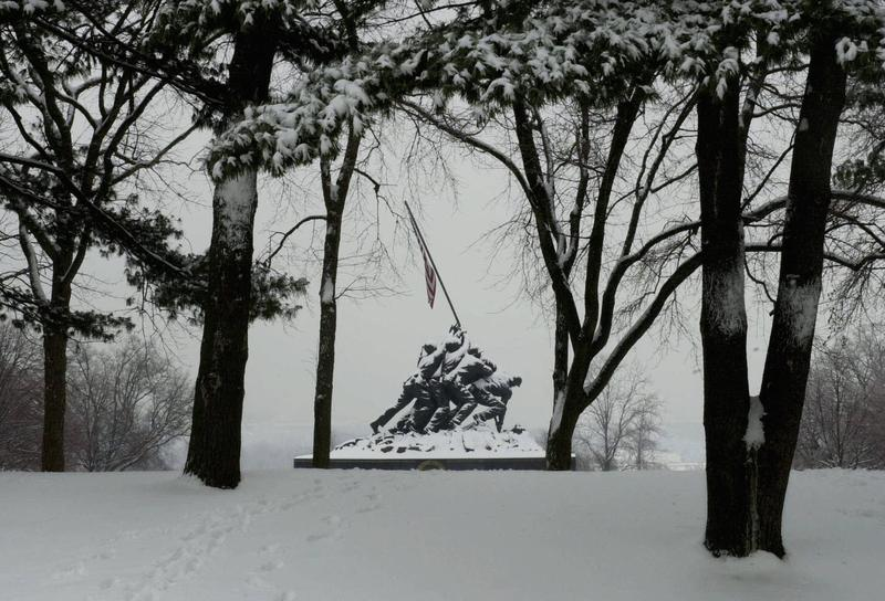The Iwo Jima Memorial, stands covered with snow, 27 January 2004, in Arlington, Virginia.
