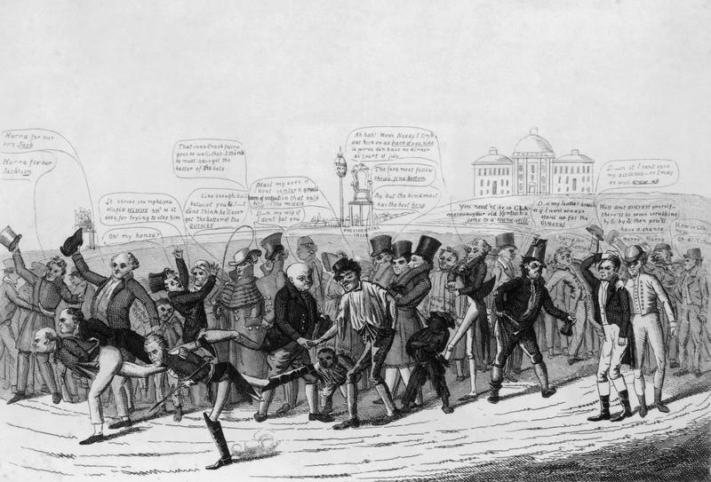 The three candidates in the 1824 US presidential election take part in a foot race toward the White House.  A cartoon by David Claypoole Johnson, engraved by Crackfardi.