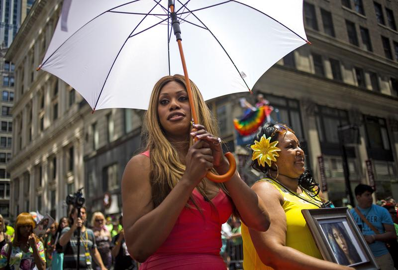 Grand Marshal Laverne Cox (L) and Delores Nettles, mother of slain transgender woman Islan Nettles, attend the 2014 Gay Pride March on June 29, 2014 in New York City.