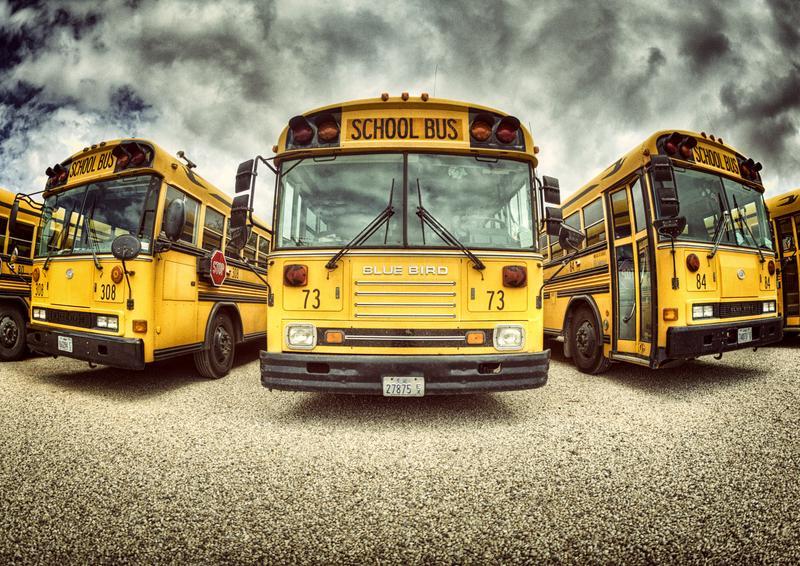 Schoolbus yard in St. George, Utah, USA.