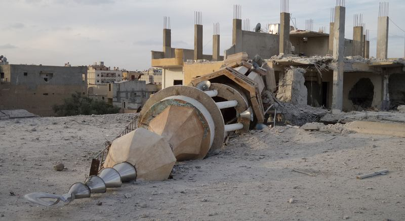 A fallen minaret on the ISIL-held northern Syrian city of Raqqa.