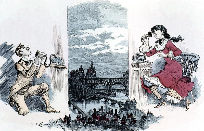 Courting by telephone across Paris, 1883.