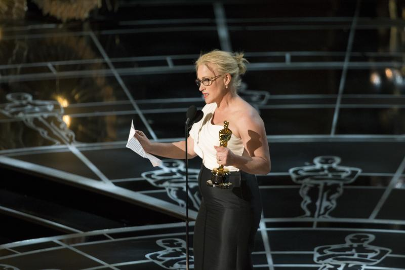 Actress Patricia Arquette gives an acceptance speech during the 87th annual Academy Awards held on Sunday, February 22, 2015.