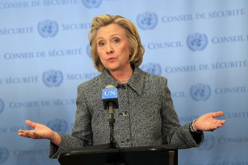 Hillary Clinton responds to press questions about her email controversy at United Nations on March 10, 2015 in New York City
