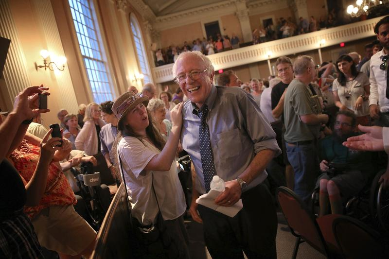 Democratic presidential candidate and U.S. Sen. Bernie Sanders (I-VT) finishes greeting supporters following a packed town meeting at the South Church May 27, 2015 in Portsmouth, New Hampshire.