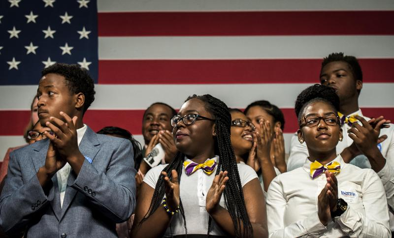 Vermont Senator Bernie Sanders (I-VT) speaks to mostly African American voters and students at Benedict College in Columbia, South Carolina on Saturday September 12, 2015.