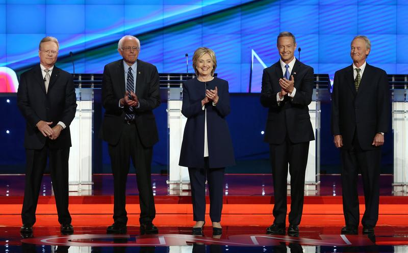 Democratic presidential candidates Jim Webb, Sen. Bernie Sanders (I-VT), Hillary Clinton, Martin O'Malley and Lincoln Chafee take the stage for a presidential debate. Oct. 13, 2015