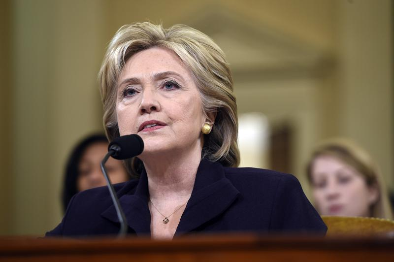 Former Secretary of State and Democratic Presidential hopeful Hillary Clinton testifies to the House Select Committee on Benghazi on Capitol Hill in Washington, DC, October 22, 2015.