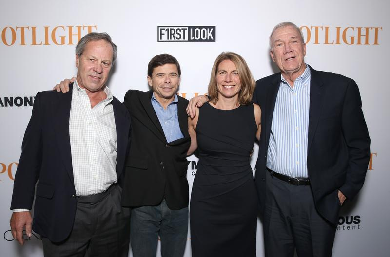 Boston Globe journalists Ben Bradlee Jr., Michael Rezendes, Sacha Pfeiffer and Walter Robinson attend the screening of Open Roads Films' 'Spotlight' on November 3, 2015 in Los Angeles, California.