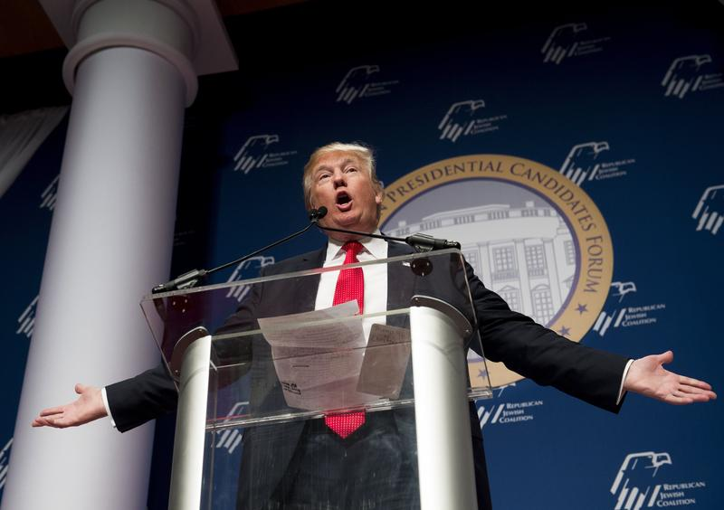 Donald Trump addresses a meeting of the Republican Jewish Coalition on December 2.
