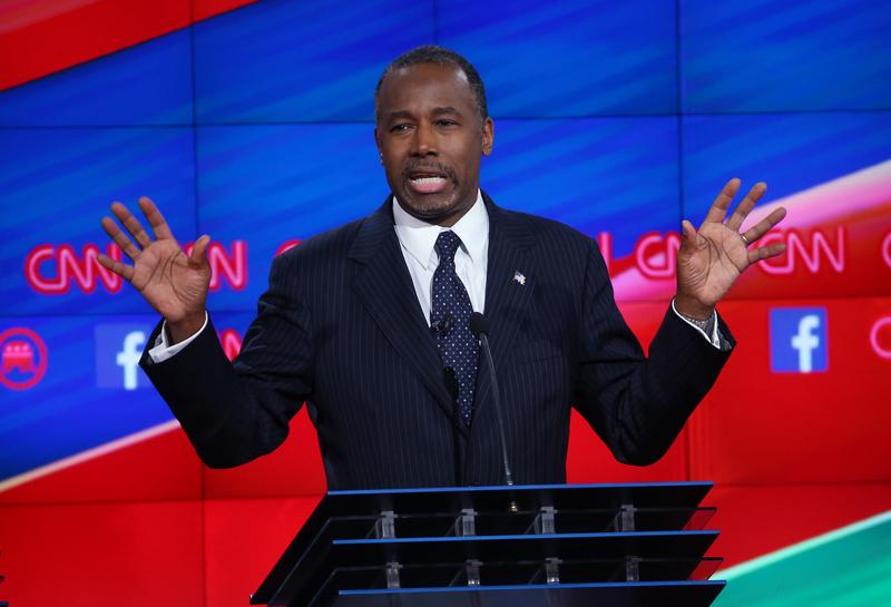 Republican presidential candidate Ben Carson speaks during the CNN Republican presidential debate on December 15, 2015 in Las Vegas, Nevada.