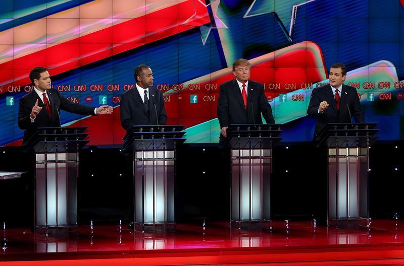 LAS VEGAS, NV—DECEMBER 15: Republican presidential candidates (L-R) Sen. Marco Rubio (R-FL), Ben Carson, Donald Trump and Sen. Ted Cruz (R-TX), on stage during the CNN republican presidential debate.