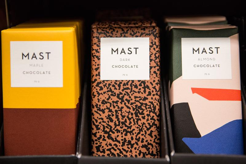Mast Brothers chocolate sits for sale in a store on December 21, 2015 in New York City. The chocolate company has recently been accused of using industrial chocolate in their chocolate bars.