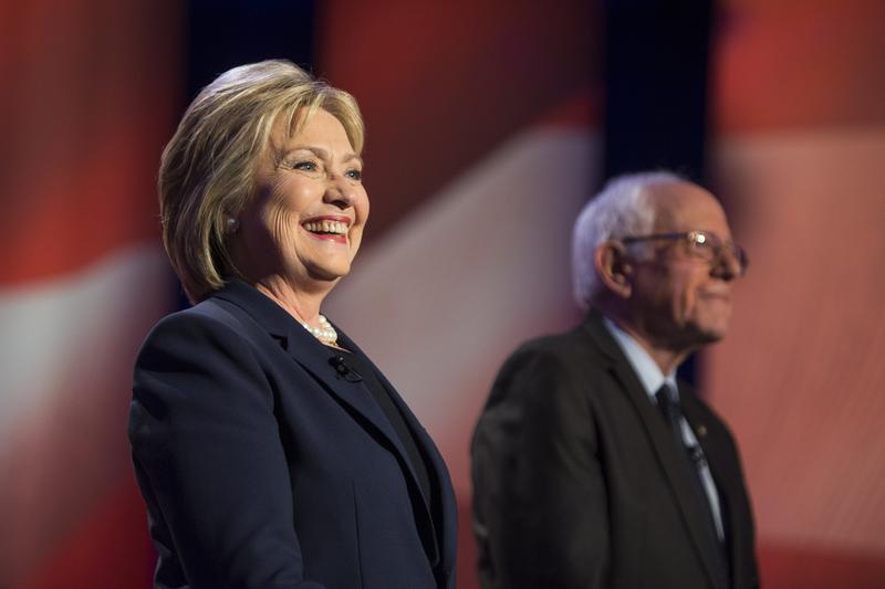 Former Secretary of State Hillary Clinton and Vermont Sen. Bernie Sanders appear during the 'MSNBC Democratic Candidates Debate' on Thursday, February 4, 2016.