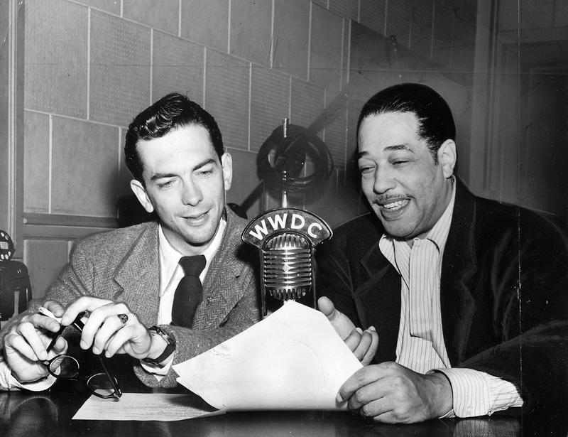African-American composer, pianist, bandleader and Jazz musician Duke Ellington and broadcaster and Jazz producer Willis Conover during a radio show, Washington DC, November 10, 1949.