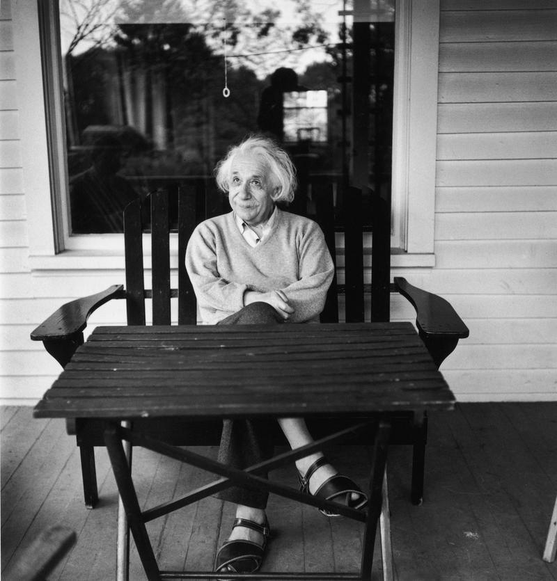 German-born mathematician and physicist Albert Einstein (1879 - 1955) outside his home at Princeton, New Jersey, where he he is professor at the Institute for Advanced Studies, 1951