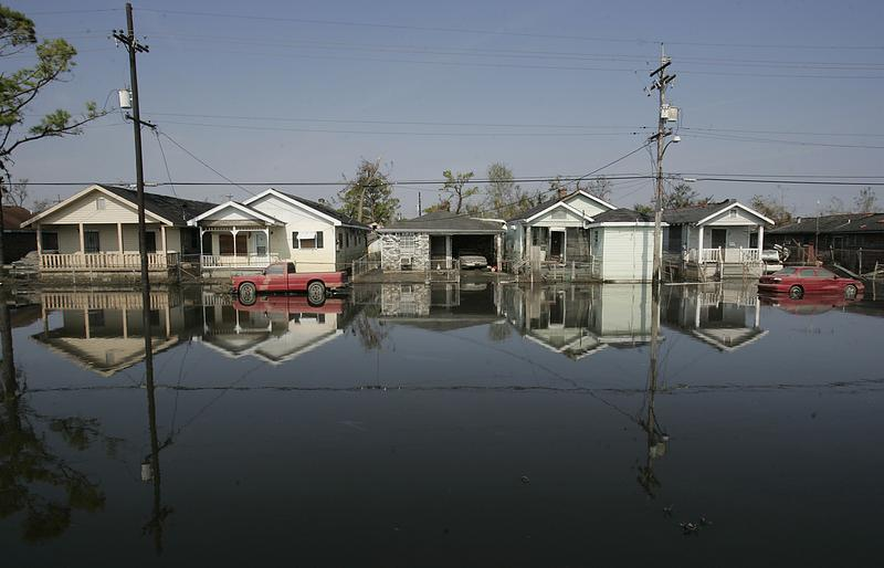 The streets of New Orleans Ninth Ward were still fllooded more than a week after Hurricane Katrina caused numerous levee breaks. September 9, 2005.