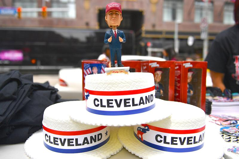 Cleveland convention hats are sold downtown ahead of the upcoming Republican National Convention on July 17, 2016 in Cleveland, Ohio.
