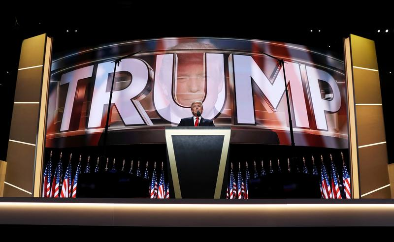 Republican presidential candidate Donald Trump delivers a speech during the evening session on the fourth day of the Republican National Convention on July 21, 2016 at the Quicken Loans Arena in Clev