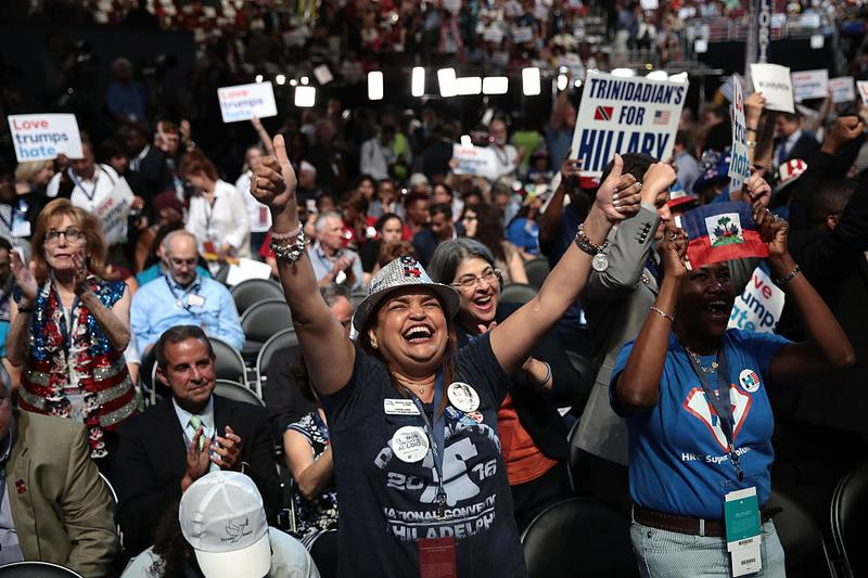 Delegates cheer during the first day of the Democratic National Convention, July 25, 2016 in Philadelphia.