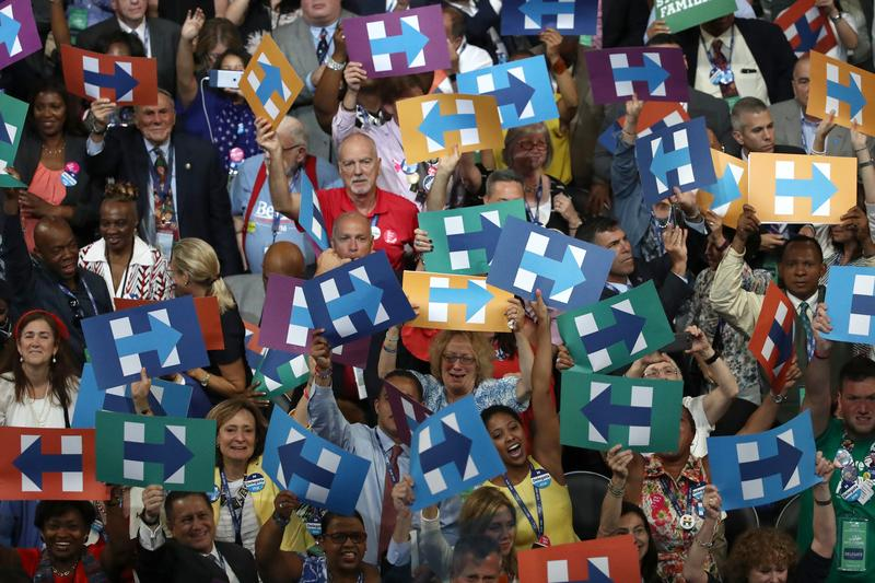 The crowd cheers after formally nominating Hillary Clinton on the second day of the Democratic National Convention.