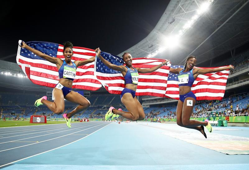 RIO DE JANEIRO, BRAZIL - AUGUST 17: (L-R) Bronze medalist Kristi Castlin, gold medalist Brianna Rollins and silver medalist Nia Ali of the United States after the Women's 100m Hurdles Final.