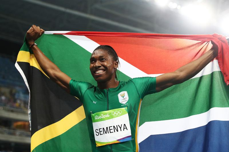 South African runner Caster Semenya celebrates after her gold-winning performance in the Women's 800 meter Final at the Rio 2016 Olympic Games.