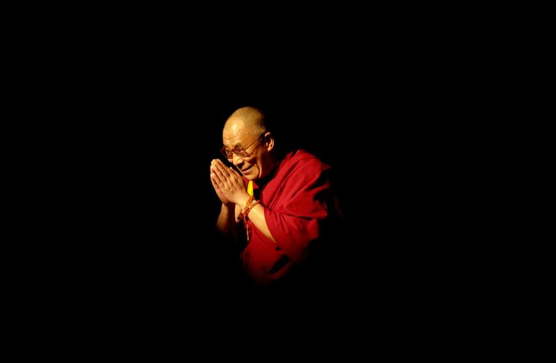 Nobel Laureate and exiled spiritual leader of Tibet, His Holiness the 14th Dalai Lama, appears at the University of California Los Angeles (UCLA) to give a public teaching May 26, 2001 in Los Angeles.