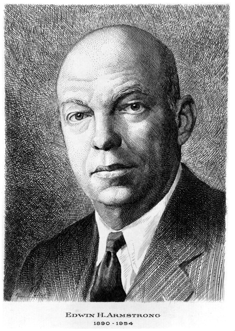 Etching of Armstrong (1890-1954) who was born in New York City and studied at Columbia University where he invented the regenerative circuit.