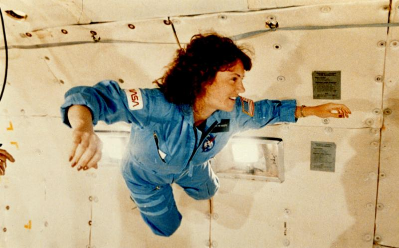 January 13, 1986: Christa McAuliffe received a preview of microgravity during a special flight aboard NASA's KC-135 zero gravity aircraft, which provides short periods of weightlessness.