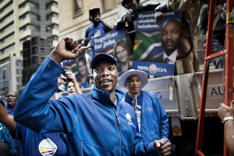 Musi Maimane, Gauteng Province Premier Candidate for the Democratic Alliance, S. Africa's main opposition party, during a protest against corruption and unemployment on April 23, 2014, Johannesburg..