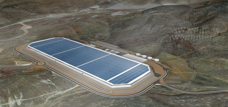 A mock up of the Gigafactory.