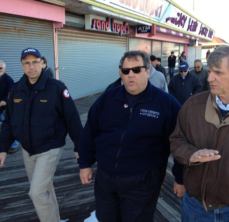 Gov. Chris Christie surveys damage at the Jersey shore after Sandy