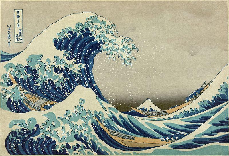 The Great Wave off Kanagawa (color woodblock print)