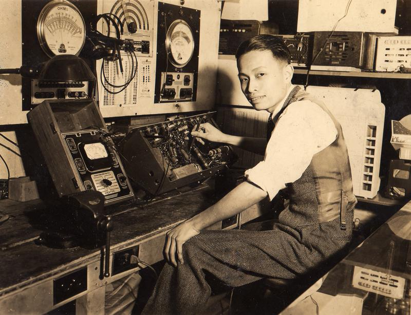 Hom Hong Wei, a.k.a. Henry Wei on job at WNYC in the early 1940s.