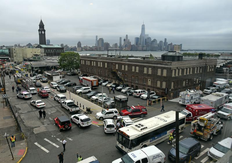 The skyline of New York's borough of Manhattan is seen behind the Hoboken, N.J. rail station after a train crash at the facility on Thursday, Sept. 29, 2016.