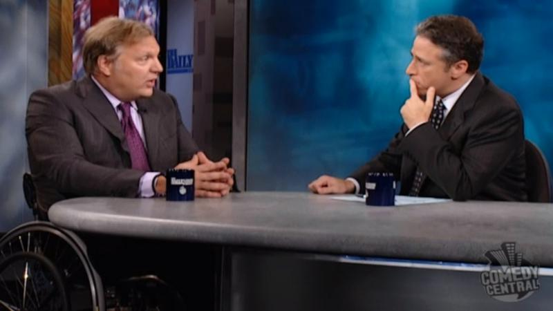 John Hockenberry with Jon Stewart on The Daily Show.