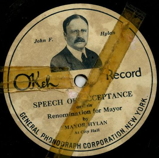 Mayor John F. Hylan's speech on Okeh Records, October, 1921.
