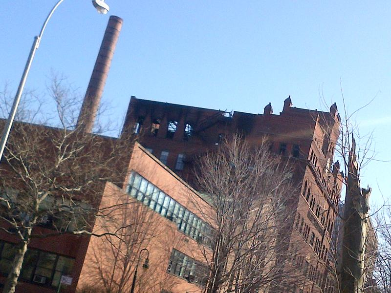 The charred remains of Pratt Institute's Main Building