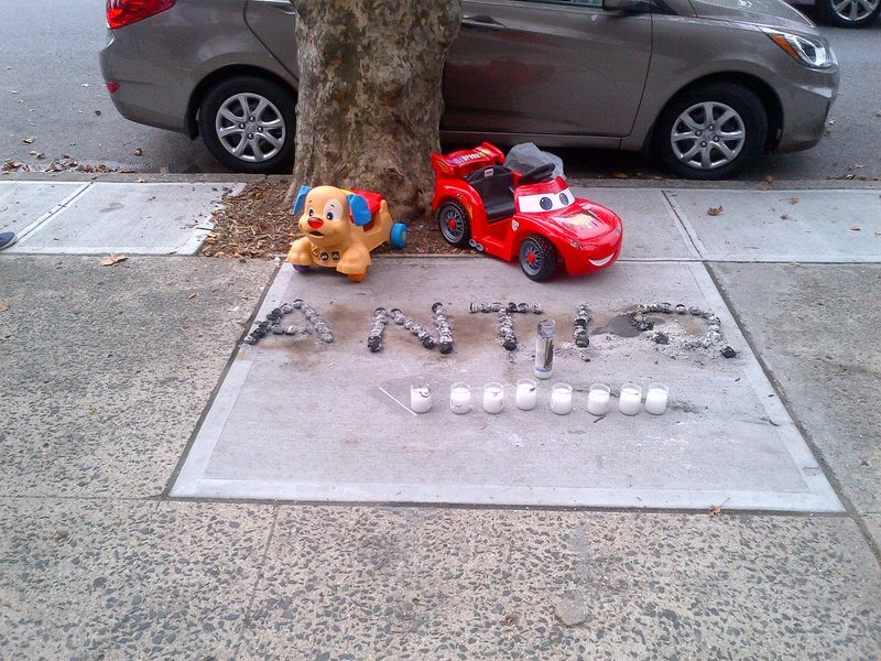 A memorial to Antiq Hennis outside of his Brownsville Home