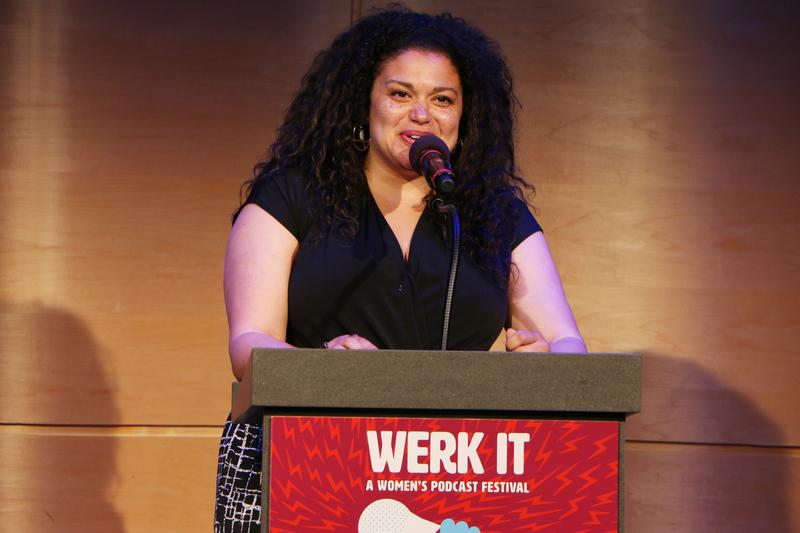 Michelle Buteau delivers the keynote address at Werk It