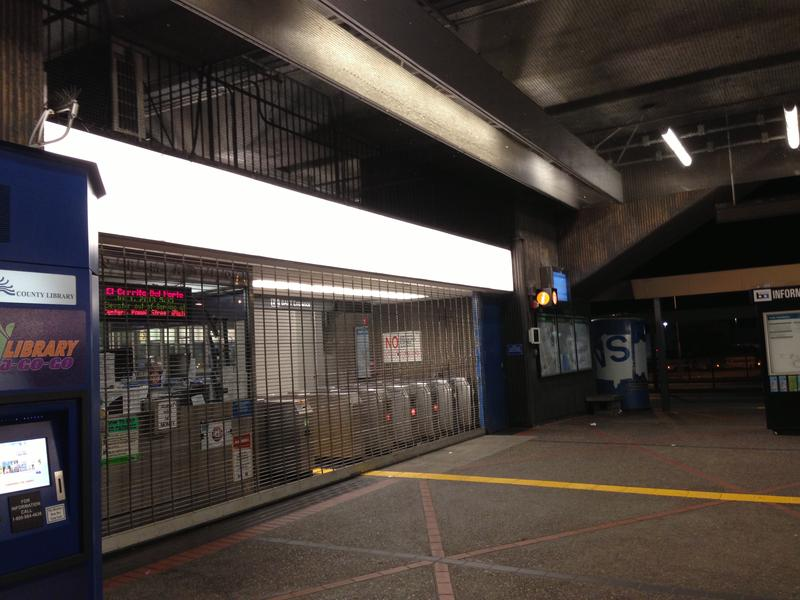 The El Cerrito Del Norte BART Station, closed during the first BART strike in July